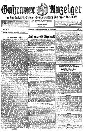 Guhrauer Anzeiger an der Schlesisch-Posener Grenze on Oct 4, 1917