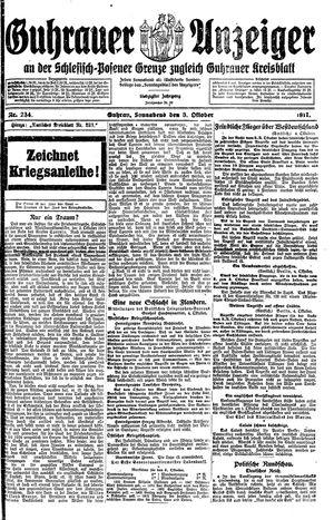 Guhrauer Anzeiger an der Schlesisch-Posener Grenze vom 06.10.1917