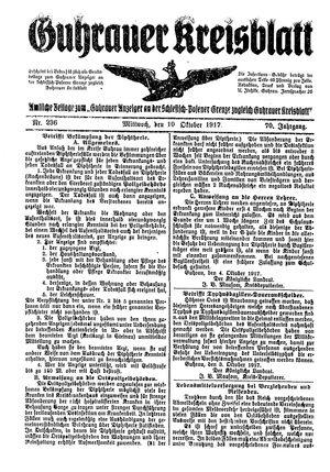 Guhrauer Anzeiger an der Schlesisch-Posener Grenze vom 10.10.1917