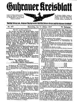 Guhrauer Anzeiger an der Schlesisch-Posener Grenze vom 11.10.1917