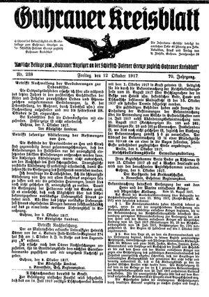 Guhrauer Anzeiger an der Schlesisch-Posener Grenze vom 12.10.1917