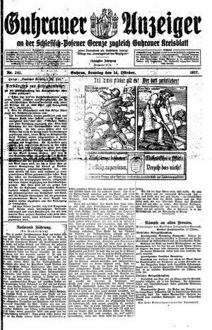Guhrauer Anzeiger an der Schlesisch-Posener Grenze vom 14.10.1917