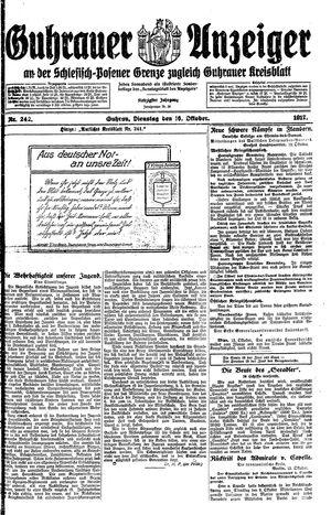 Guhrauer Anzeiger an der Schlesisch-Posener Grenze vom 16.10.1917