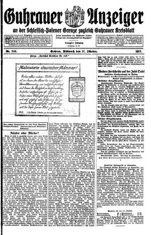 Guhrauer Anzeiger an der Schlesisch-Posener Grenze vom 17.10.1917