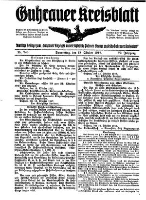 Guhrauer Anzeiger an der Schlesisch-Posener Grenze vom 18.10.1917