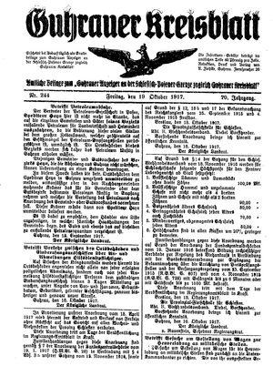 Guhrauer Anzeiger an der Schlesisch-Posener Grenze vom 19.10.1917