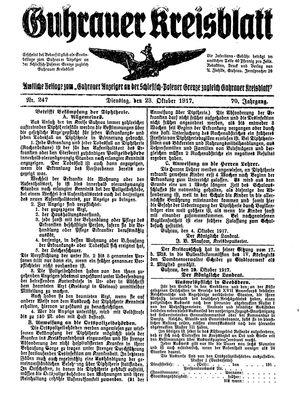 Guhrauer Anzeiger an der Schlesisch-Posener Grenze vom 23.10.1917