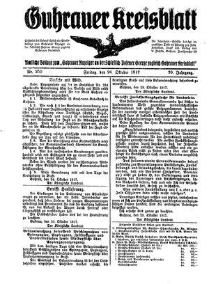 Guhrauer Anzeiger an der Schlesisch-Posener Grenze vom 26.10.1917