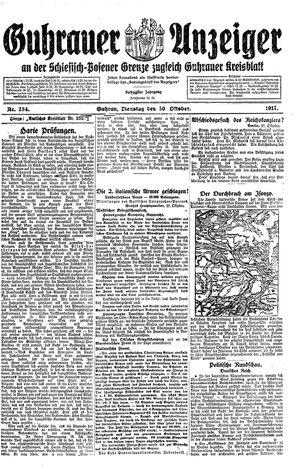 Guhrauer Anzeiger an der Schlesisch-Posener Grenze vom 30.10.1917