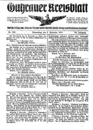 Guhrauer Anzeiger an der Schlesisch-Posener Grenze vom 08.11.1917