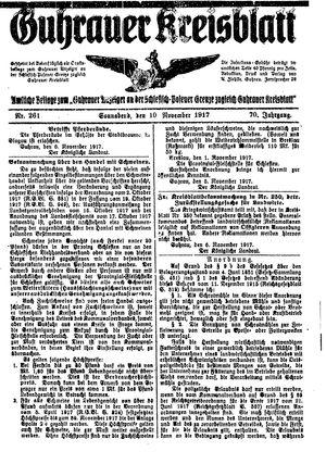 Guhrauer Anzeiger an der Schlesisch-Posener Grenze vom 10.11.1917