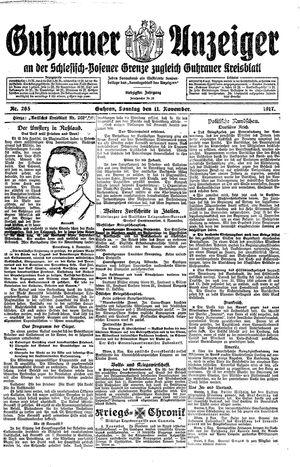 Guhrauer Anzeiger an der Schlesisch-Posener Grenze vom 11.11.1917