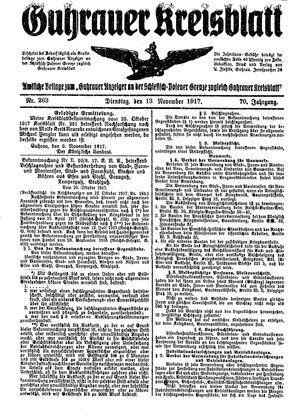 Guhrauer Anzeiger an der Schlesisch-Posener Grenze vom 13.11.1917