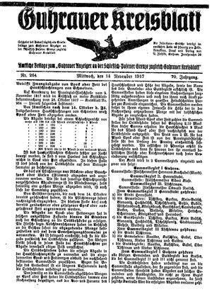 Guhrauer Anzeiger an der Schlesisch-Posener Grenze vom 14.11.1917