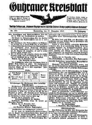 Guhrauer Anzeiger an der Schlesisch-Posener Grenze vom 15.11.1917