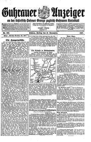 Guhrauer Anzeiger an der Schlesisch-Posener Grenze vom 16.11.1917