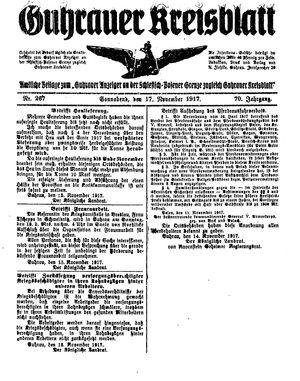 Guhrauer Anzeiger an der Schlesisch-Posener Grenze vom 17.11.1917