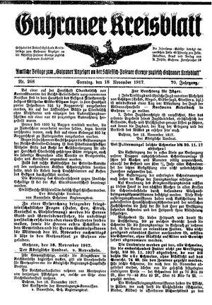 Guhrauer Anzeiger an der Schlesisch-Posener Grenze vom 18.11.1917