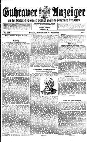 Guhrauer Anzeiger an der Schlesisch-Posener Grenze vom 21.11.1917
