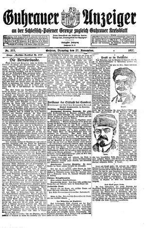 Guhrauer Anzeiger an der Schlesisch-Posener Grenze vom 27.11.1917