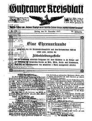 Guhrauer Anzeiger an der Schlesisch-Posener Grenze vom 30.11.1917