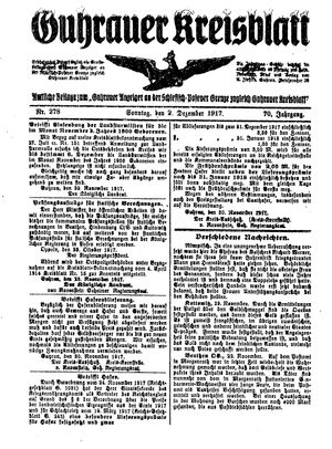 Guhrauer Anzeiger an der Schlesisch-Posener Grenze vom 02.12.1917
