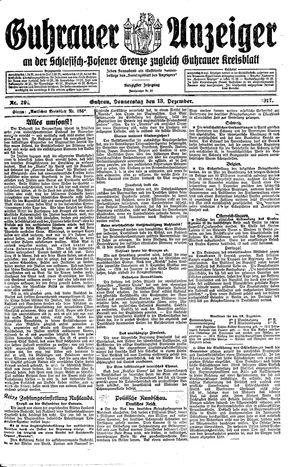Guhrauer Anzeiger an der Schlesisch-Posener Grenze on Dec 13, 1917