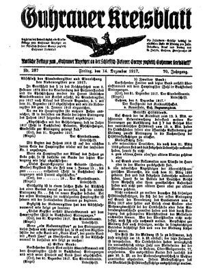 Guhrauer Anzeiger an der Schlesisch-Posener Grenze vom 14.12.1917