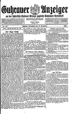 Guhrauer Anzeiger an der Schlesisch-Posener Grenze vom 15.12.1917