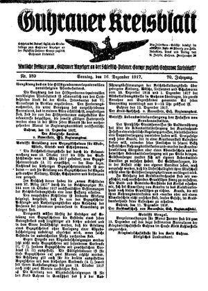 Guhrauer Anzeiger an der Schlesisch-Posener Grenze vom 16.12.1917
