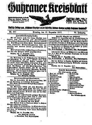 Guhrauer Anzeiger an der Schlesisch-Posener Grenze vom 18.12.1917