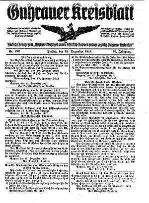 Guhrauer Anzeiger an der Schlesisch-Posener Grenze vom 21.12.1917