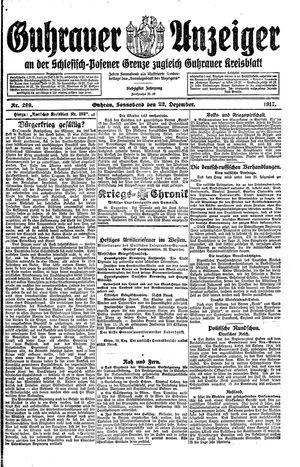 Guhrauer Anzeiger an der Schlesisch-Posener Grenze vom 22.12.1917
