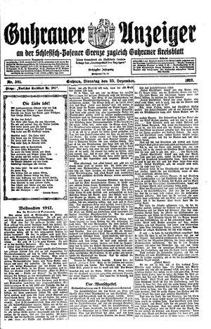 Guhrauer Anzeiger an der Schlesisch-Posener Grenze vom 25.12.1917