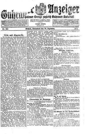 Guhrauer Anzeiger an der Schlesisch-Posener Grenze vom 29.12.1917