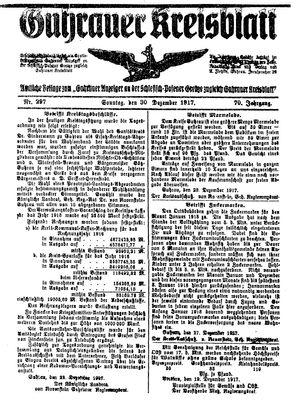 Guhrauer Anzeiger an der Schlesisch-Posener Grenze vom 30.12.1917