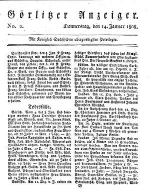 Görlitzer Anzeiger vom 14.01.1808