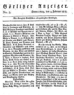 Görlitzer Anzeiger vom 04.02.1808