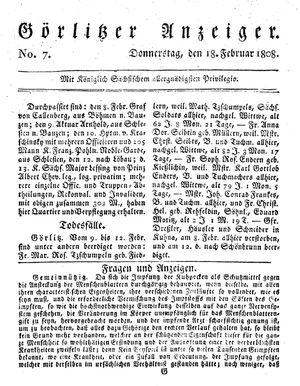 Görlitzer Anzeiger vom 18.02.1808