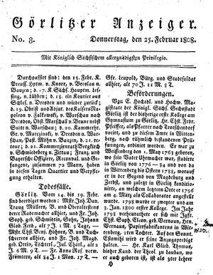 Görlitzer Anzeiger vom 25.02.1808