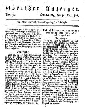 Görlitzer Anzeiger vom 03.03.1808