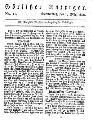 Görlitzer Anzeiger vom 17.03.1808