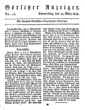 Görlitzer Anzeiger vom 24.03.1808