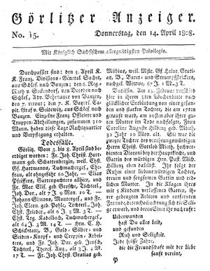 Görlitzer Anzeiger vom 14.04.1808