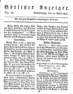 Görlitzer Anzeiger vom 21.04.1808