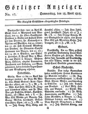 Görlitzer Anzeiger vom 28.04.1808