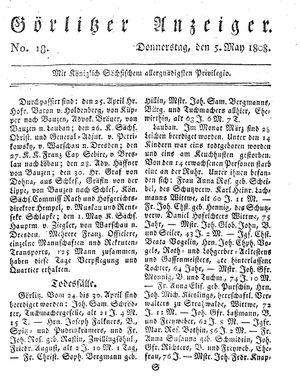 Görlitzer Anzeiger on May 5, 1808
