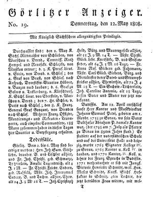 Görlitzer Anzeiger vom 12.05.1808