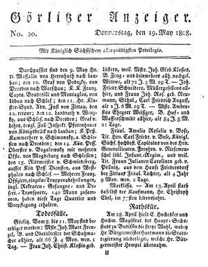 Görlitzer Anzeiger vom 19.05.1808
