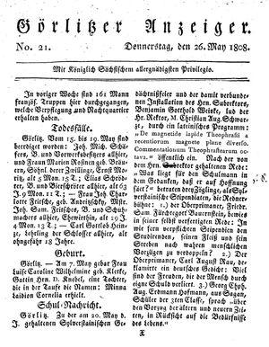 Görlitzer Anzeiger vom 26.05.1808